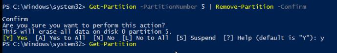 Get-Partition -PartitionNumber 5 | Remove-Partition -Confirm