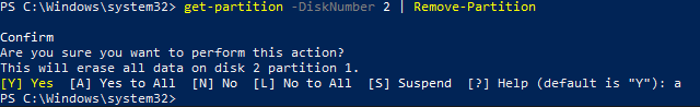 Get-Partition -DiskNumber 2 | Remove-Partition